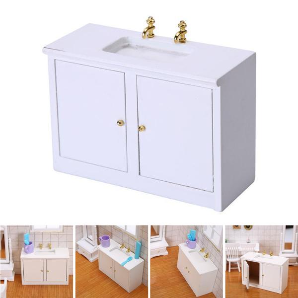 レトロ1/12木製ドールハウス浴室シンクキャビネットdiyのシーンの装飾キッズおもちゃ.優れた技量で設計され