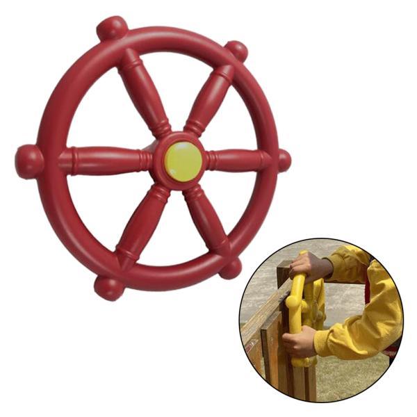 スイングセット屋外プレイセット裏庭用ポータブル18.81インチ海賊船ホイール赤