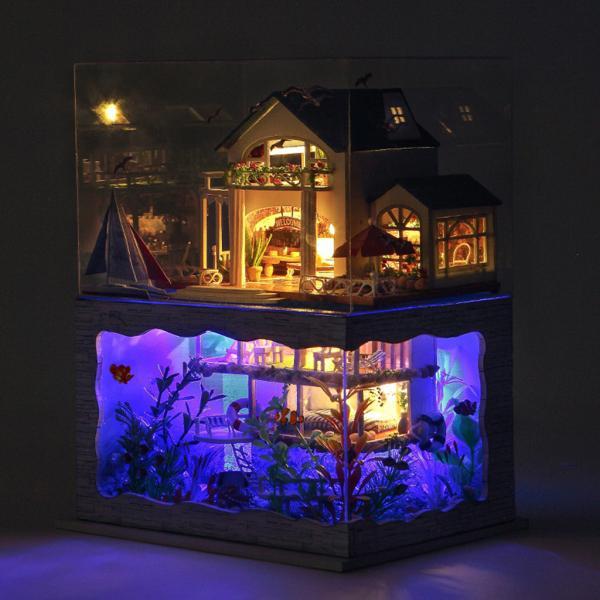 ドールハウスミニチュア家具.diyの木製ドールハウスキット.クリエイティブルームバレンタインデーのギフトのためのハワイシーサイドキャンバスヴィラコテ