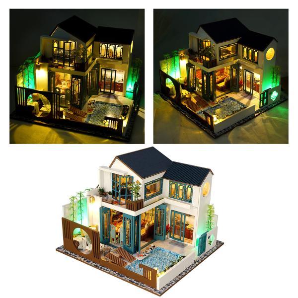 ミニチュアドールハウスキットと大人のための家具ロマンチックなワークのギフトミニ木製ドールハウスledライト誕生日マニュアル教育キット