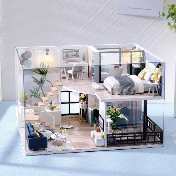 ミニチュア木製ドールハウス家具キット北欧スタイルコテージドールハウス防塵カバー & ledライト3Dパズル建物キット女の子のためのおもちゃ