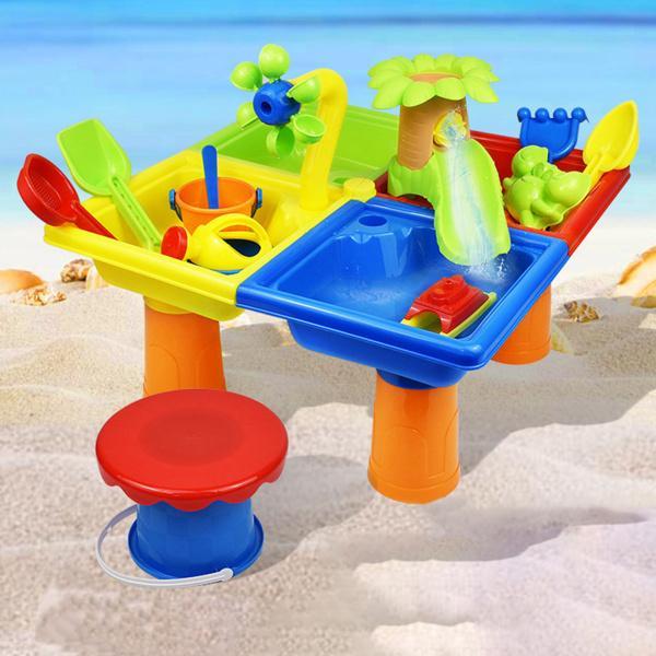 26ピース/個 2 イン1キッズサンドウォーターテーブル幼児裏庭サンドボックスアクティビティテーブルビーチおもちゃギフト