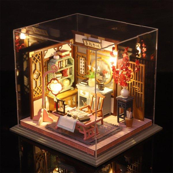 防塵ケースとバッテリーケース付き家具付き手作りドールハウスウッド3Dパズルドールハウスの家の装飾