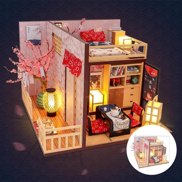 ドールハウスミニチュア家具付き防塵ミニチュアDIY木製キットDIYドールハウス人形家具コテージ大人用子供女性誕生日