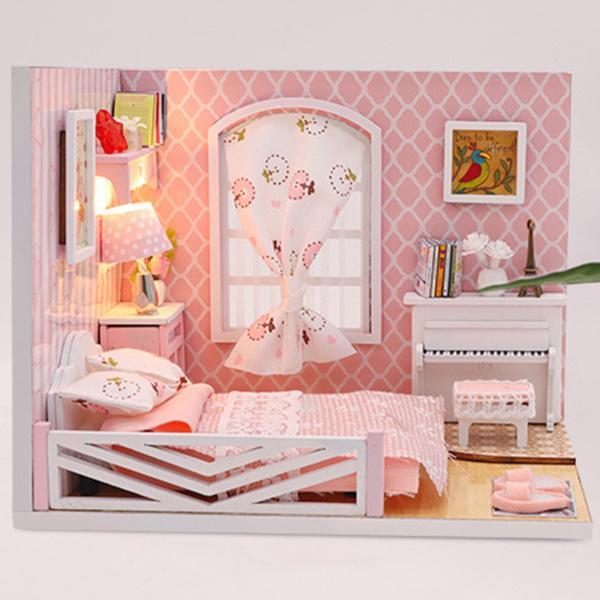 ミニチュアDIYミニドールハウス家具セットLEDライト、小さな建物の家キット、木製の温室スーツ、子供大人のための装飾コレクションギフト
