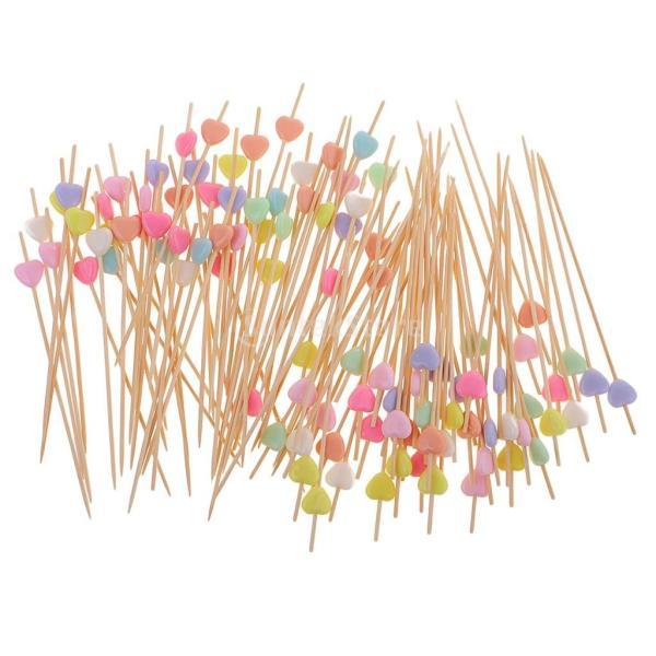 竹ピック フルーツスティック カップケーキトッパー かわいい ケーキ 装飾 明るい色 カクテルピック 約100本 全3種類 - ハート