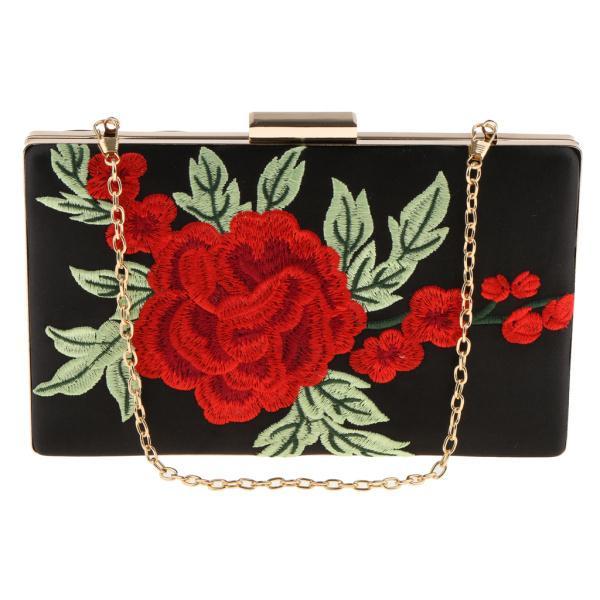 Perfk 素敵な 刺繍デザイン バラの花 ハンドバッグ クラッチバッグ 財布 ショルダーチェーンバッグ 女性の誕生日 贈り物