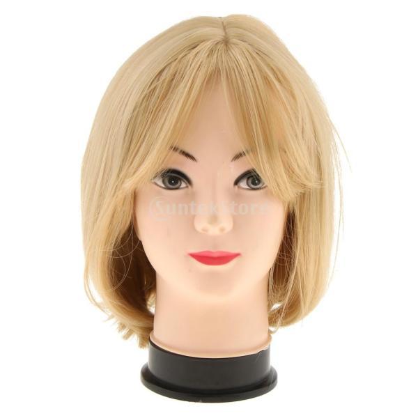 女性 コスプレ用 高温繊維 ショート ボボ ブロンド かつら ウィッグ ブロンド