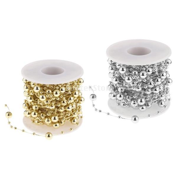B Blesiya ビーズロール ストリング 人工真珠 ビーズチェーン DIY パーティー 装飾 2色選べ - ゴールド