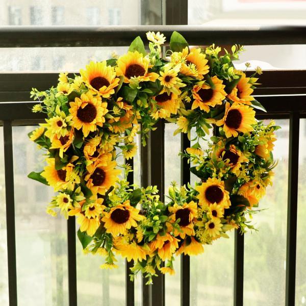 フラワーリース ひまわりの花輪 花輪 ドアの花輪 ウェディング クリスマス 結婚式