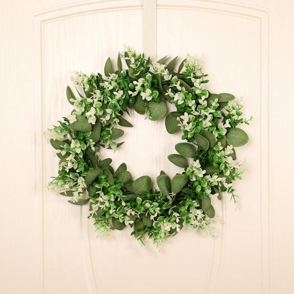 緑の人工ユーカリの花輪偽の葉ドアハンギングガーランド装飾スタイル1