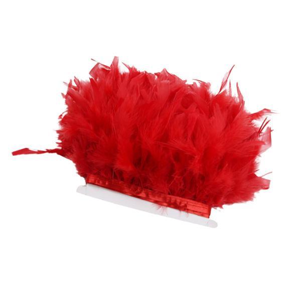 Lovoski フェザーフリンジ 羽のレース ドレス 服の装飾 ミシン用 手芸 アクセサリー 8色選べ - 赤