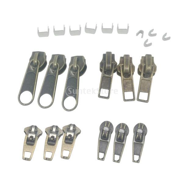 縫製用 22個/セット 交換用ファスナー  修理キット  ジップ 止めスライダー stk-shop