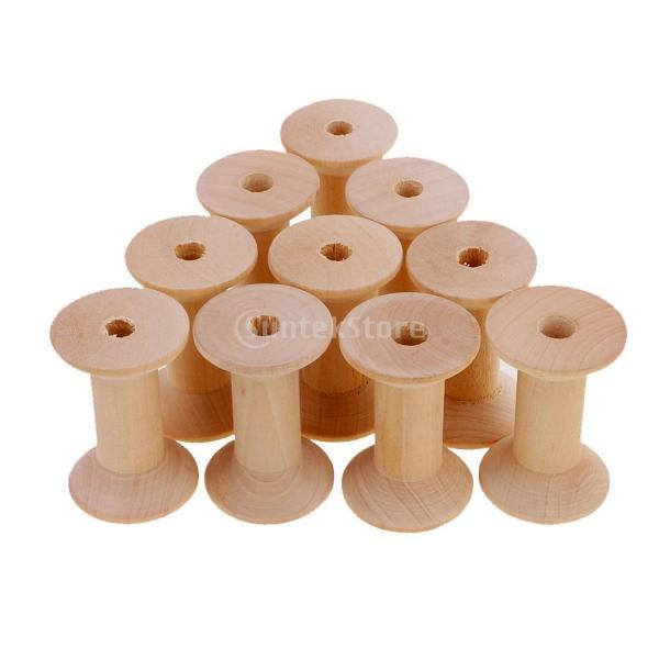 10個セット 糸スプール 天然木 中空 木製スプール 縫製ボビン DIY おもちゃ