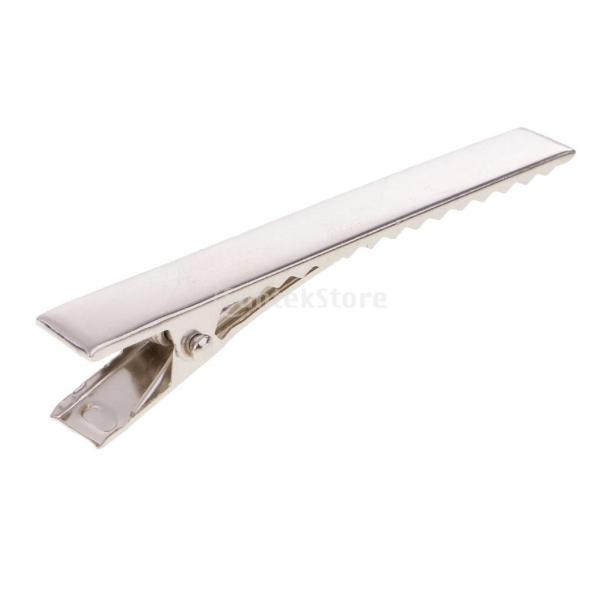 Perfk フラット式 メタル製 DIYヘアアクセサリー  ワニクリップ ヘアクリップ 歯付き 全6サイズ選べ - 7.6cm