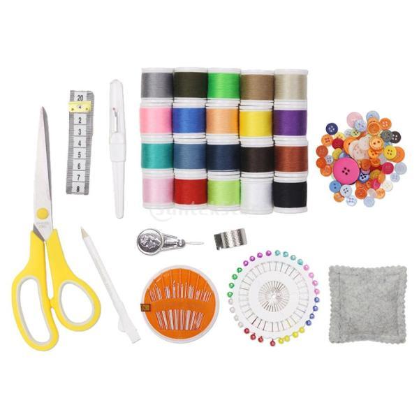 88pcs手縫いツール 裁縫道具セット手縫い系 ソーイング糸 常備糸ぬい針 ボタン/ピン/はさみ ミシン糸セット ミシン縫い糸 初心者 コンパクト