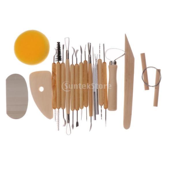 Fityle 2セット選べ DIYツール 粘土彫刻セット シェイパー ポリマーモデリング ワックス 作業道具 彫刻陶器ツール  - 19個セット|stk-shop