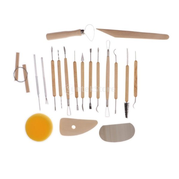 Fityle 2セット選べ DIYツール 粘土彫刻セット シェイパー ポリマーモデリング ワックス 作業道具 彫刻陶器ツール  - 19個セット|stk-shop|03