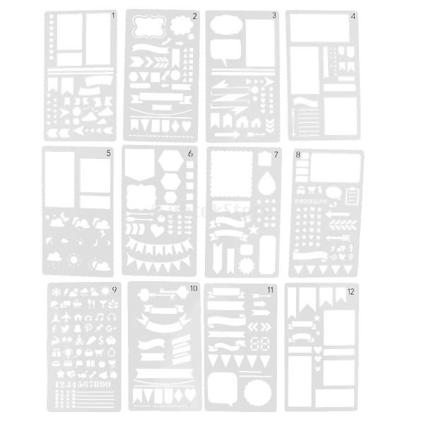 プラスチック製 ジャーナル ステンシル 設計用 日記 創造的ツール diyテンプレート ステンシル 全2セット選べ - 18x10.5cm(12枚) stk-shop