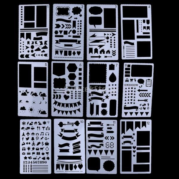 プラスチック製 ジャーナル ステンシル 設計用 日記 創造的ツール diyテンプレート ステンシル 全2セット選べ - 18x10.5cm(12枚) stk-shop 02