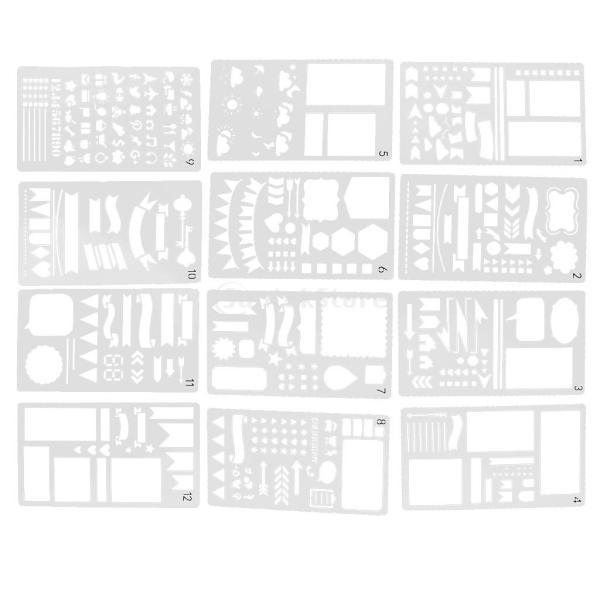 プラスチック製 ジャーナル ステンシル 設計用 日記 創造的ツール diyテンプレート ステンシル 全2セット選べ - 18x10.5cm(12枚) stk-shop 11