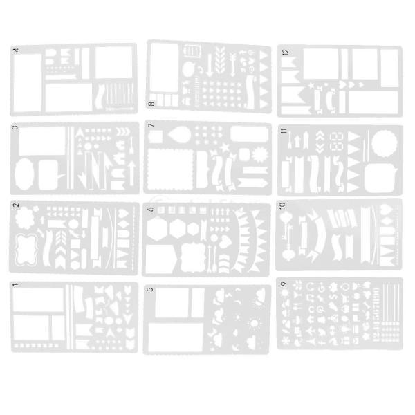 プラスチック製 ジャーナル ステンシル 設計用 日記 創造的ツール diyテンプレート ステンシル 全2セット選べ - 18x10.5cm(12枚) stk-shop 13