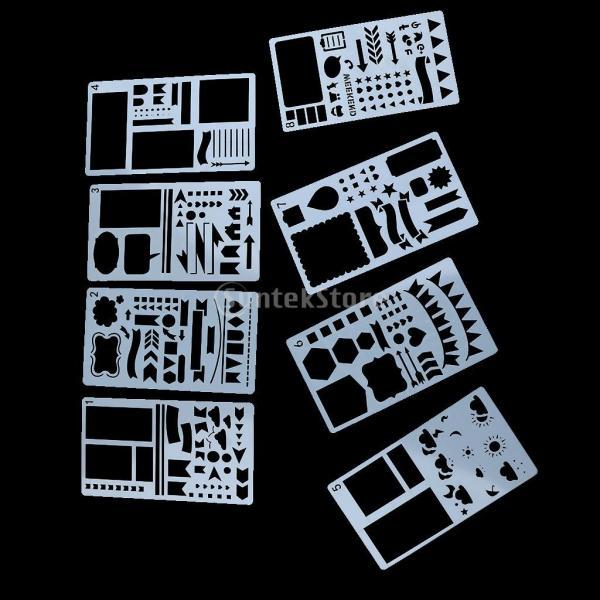 プラスチック製 ジャーナル ステンシル 設計用 日記 創造的ツール diyテンプレート ステンシル 全2セット選べ - 18x10.5cm(12枚) stk-shop 03