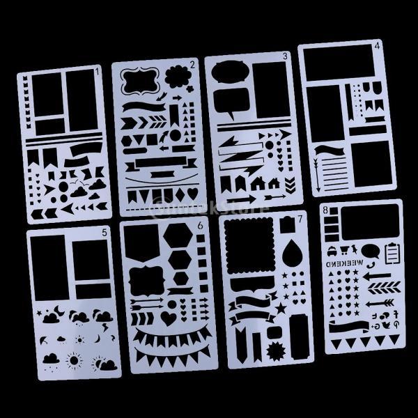 プラスチック製 ジャーナル ステンシル 設計用 日記 創造的ツール diyテンプレート ステンシル 全2セット選べ - 18x10.5cm(12枚) stk-shop 04