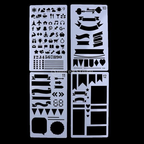 プラスチック製 ジャーナル ステンシル 設計用 日記 創造的ツール diyテンプレート ステンシル 全2セット選べ - 18x10.5cm(12枚) stk-shop 05
