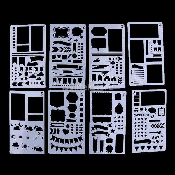 プラスチック製 ジャーナル ステンシル 設計用 日記 創造的ツール diyテンプレート ステンシル 全2セット選べ - 18x10.5cm(12枚) stk-shop 06