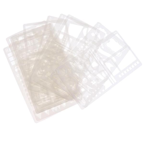 プラスチック製 ジャーナル ステンシル 設計用 日記 創造的ツール diyテンプレート ステンシル 全2セット選べ - 18x10.5cm(12枚) stk-shop 07