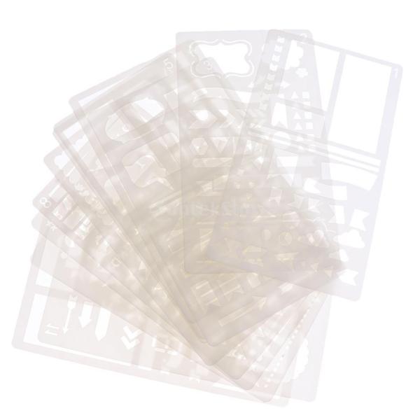 プラスチック製 ジャーナル ステンシル 設計用 日記 創造的ツール diyテンプレート ステンシル 全2セット選べ - 18x10.5cm(12枚) stk-shop 08