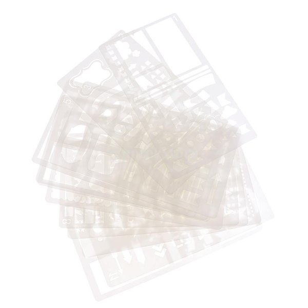 プラスチック製 ジャーナル ステンシル 設計用 日記 創造的ツール diyテンプレート ステンシル 全2セット選べ - 18x10.5cm(12枚) stk-shop 09
