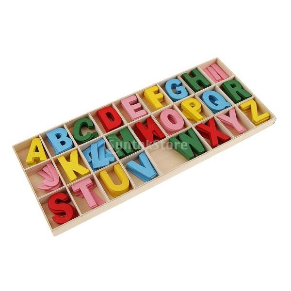 Fenteer 木製アルファベット 収納トレイ 木片 結婚式飾り 教育玩具 手作り 約156個入り