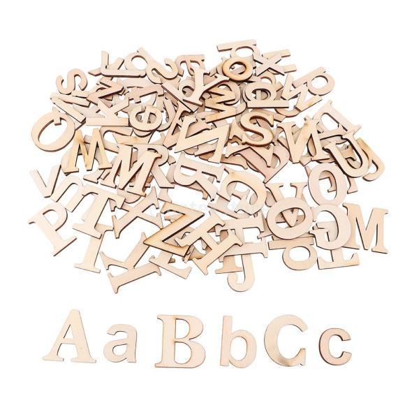 英語 アルファベット 木片 木スライス 手作り 装飾小物 デコレーション用 手芸素材 デコレーション用 スライス 木片 英語文字 木製工芸 約52個入り