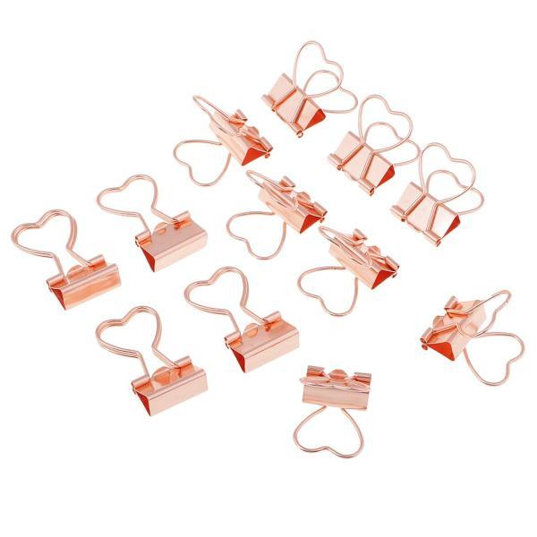 バインダークリップ 書類整理 金属製 折り畳み 12個入り 全2色  - ローズゴールド