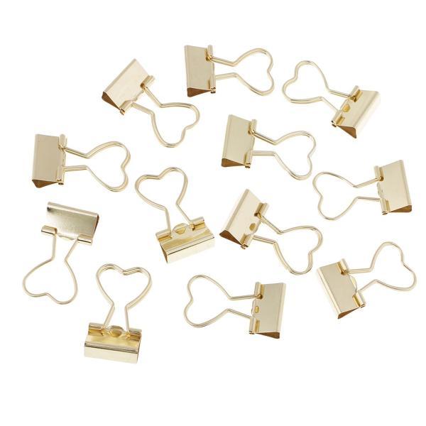 バインダークリップ 書類整理 金属製 折り畳み 12個入り 全2色  - ゴールド