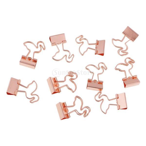 バインダークリップ 便利グッズ 家庭用 メタル フラミンゴの形 10個入り