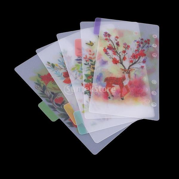インデックス 仕切カード プラスチック プランナー ノート エレガント 5個入り 全4スタイル - スタイル4|stk-shop|02