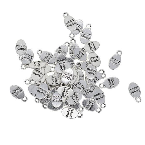 チャームペンダント 楕円形 ハンドメイド DIYネックレス アンティークシルバー 約50個入り