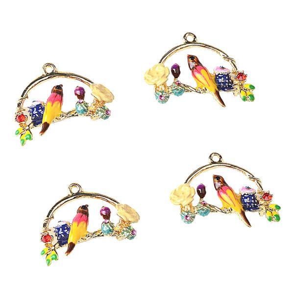 4個 バード形 チャーム イヤリング ペンダント ビーズ DIY 宝石用