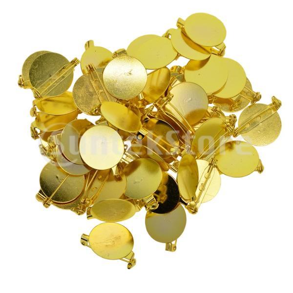 DIY 手芸 安全ピン ブローチバックベース 台座 ゴールデン 手作り 材料 約50個