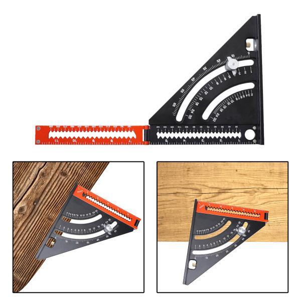 アルミニウム合金定規三角形、大工速度正方形製図分度器金属三角形90度木工測定定規レイアウトツール