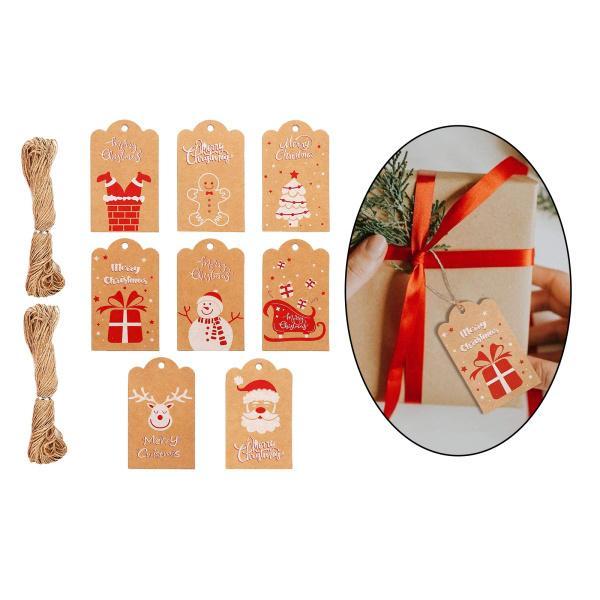 8個のクリスマスクラフト紙タグホリデープレゼントDIYデコレーションパーティーラッピング用ノームストリング
