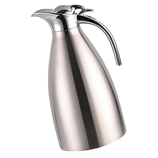 2L 4色選べ 魔法瓶 コーヒーポット 家庭用 湯や冷水ボトル 二重壁 ステンレス鋼製 優しいデザイン - 青, ベース径:14.5cm全高:28cm|stk-shop