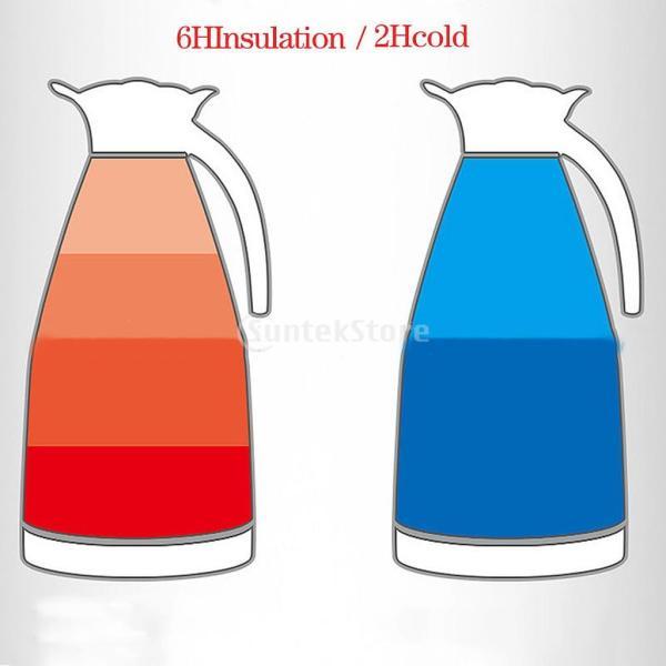 2L 4色選べ 魔法瓶 コーヒーポット 家庭用 湯や冷水ボトル 二重壁 ステンレス鋼製 優しいデザイン - 青, ベース径:14.5cm全高:28cm|stk-shop|12