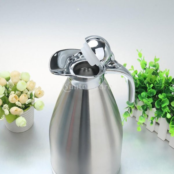 2L 4色選べ 魔法瓶 コーヒーポット 家庭用 湯や冷水ボトル 二重壁 ステンレス鋼製 優しいデザイン - 青, ベース径:14.5cm全高:28cm|stk-shop|13