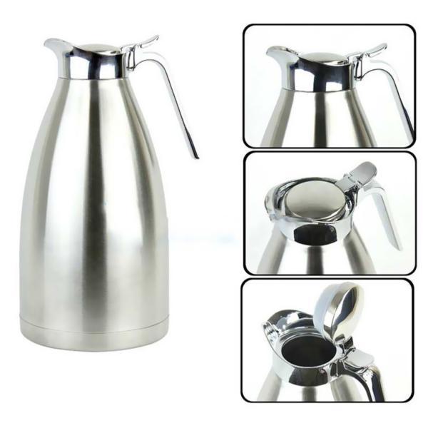 2L 4色選べ 魔法瓶 コーヒーポット 家庭用 湯や冷水ボトル 二重壁 ステンレス鋼製 優しいデザイン - 青, ベース径:14.5cm全高:28cm|stk-shop|04