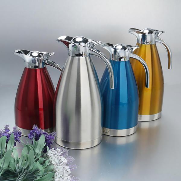 2L 4色選べ 魔法瓶 コーヒーポット 家庭用 湯や冷水ボトル 二重壁 ステンレス鋼製 優しいデザイン - 青, ベース径:14.5cm全高:28cm|stk-shop|07