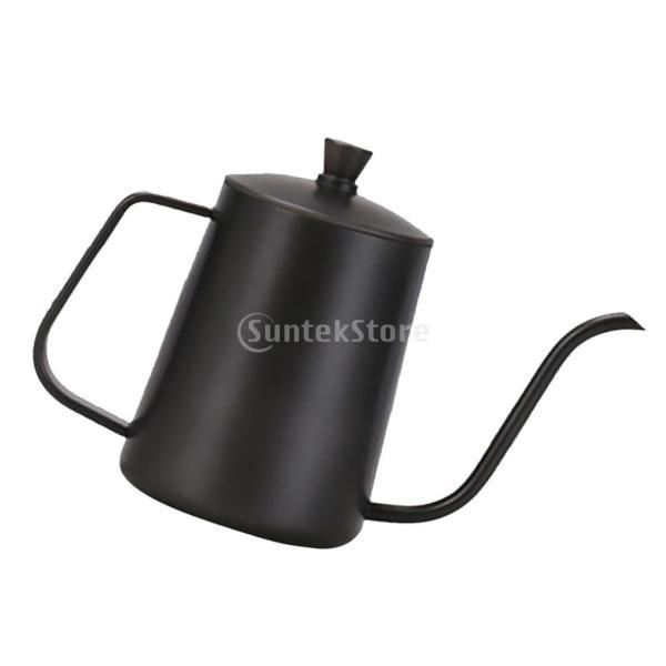 ステンレスス製 コーヒーポット モカ ミルク用 ティーケトル 600ml ドリップポット 黒|stk-shop|11
